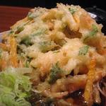 蕎麦源 - 春菊 人参入りのかき揚げはビッグサイズ