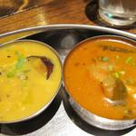 南インド料理 葉菜 - ナスとコリンキーのクートゥ(左)とチキンカレー(右)。                             クートゥは豆や野菜をココナッツミルクやスパイスで煮込んだもので、                             とても優しくマイルドな味です。