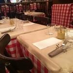 パリのワイン食堂 - 赤と白のギンガムチェックのクロス