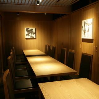 2~16名様まで収容可能な完全個室を完備