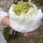 蔵元八義の直営 天然氷のかき氷 - 生キュウイのかき氷500円
