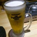 富士鷹 - まずビールとちゃんこ鍋を頼みます。
