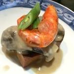 割烹たけ - 2014.08 茄子と高野豆腐の胡麻クリーム(海老、スイートピース添え)