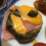 割烹たけ - 2014.08 寺島茄子のミルフィーユ(ケッパー、ロースハム、チーズ)