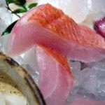 魚 しんのすけ - 金目鯛です。目が金色に光輝いて体の色が赤いので金目鯛と呼ばれている魚です。旬は冬の魚です。ちょうど今ぐらいですね。