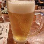 あづま家 - 生ビール:420円(思わず2杯いっちゃいました)