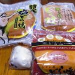 トーア乳業 - 料理写真:特大塩どら焼、栗入り特大どら焼、大福、チョコレートクリームジャンボどら焼