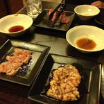 京橋 松蘭 - タンとハツ、マルチョウ、ミノ。ホルモン系でシメ