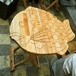大阪浪花家 - テーブルは鯛焼き柄