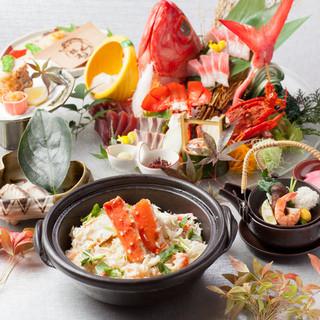 直送鮮魚やA5黒毛和牛・産直野菜などの技法が様々な料理の数々