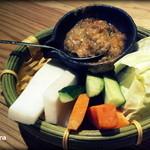 馬力キング - 2014.9 お通し。肉味噌が超美味い!