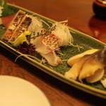 日本料理 梅林 - 鯛、ホッキ貝、かつお、ダルマイカ