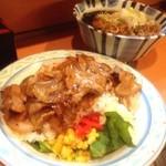 天亀そば - 今日締めは、天ぷら蕎麦と焼肉ライスのセット!(^ー^)ノ ここの焼肉ライスは、ジャンクフードの中ではトップクラスに美味いのでは?(^◇^