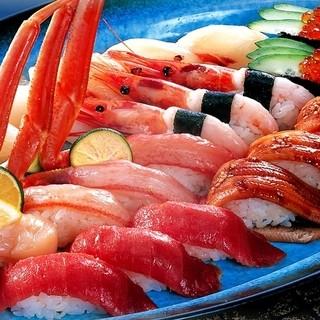 新鮮な海の幸のにぎり寿司