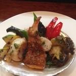 ビストロカワノ - アワビ、鮮魚のポワレ、ホタテソテーと大原お野菜グリル
