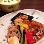 ビストロらんちょす - グリル野菜と若鶏のふわっと甘辛チリソースセット