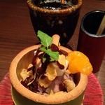 ビストロらんちょす - 食後説話のアイスコーヒーとサービスのチョコレートパフェ