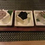 30441776 - 島豆腐3兄弟600円 スクガラス、イカ墨、酒盗