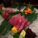 海鮮居酒屋 魚竹水産  - 刺身3種盛り!まぐろにカンパチ、うに!