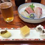 双葉寿司 - 先付けとお造り盛合せ