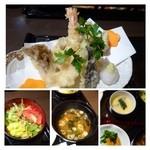 30461407 - 天ぷらは「海老・アナゴ・マイタケ・茄子・サツマイモ・エリンギ」など。カラッと揚がり美味しいですよ。                       天つゆがいいお味です。大根おろしがたっぷり添えられているのも嬉しい
