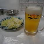 もつ焼き丸昌 - 生ビールは、アサヒからモルツに変更になったとのコト・・