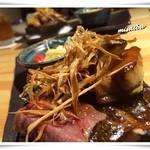 魚乱本陣 - 「焜炉」 A5等級山形牛サーロインと米茄子・フォアグラの桜島溶岩焼き