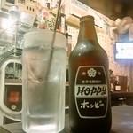 酌 - ホッピーセット(360円)、ナカ7杯やった時の量はこんな感じ(笑)