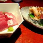 えんざ - 本日のおすすめ「いさき・ホッキ貝の刺身」
