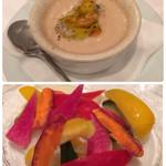 30503548 - アンティパスト1  季節野菜と車海老のバーニャカウダ1580円