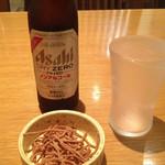 30520416 - ノンアルコールビールとサービスの揚げ蕎麦