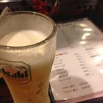 鉄板BASEはぶてる - ビールはアサヒ