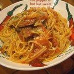 にんにく屋 五右衛門 - ナスとアボカドとにんにくのトマトソーススパゲッティ:975円