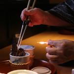 """ふぐ 福治 - """"ふぐ刺し"""" と云えば、やはり、""""ひれ酒"""" でしょ (2014/09)"""