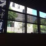 江戸前蕎麦 薫庵 - 半地下なので、窓の景色を見上げます