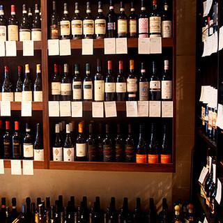 常時約200種以上のイタリアワインを酒屋価格+1000円で!