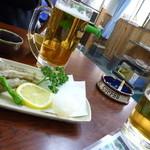 みなと食堂 - まずは生ビールで
