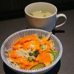 30579909 - サラダがインド料理らしいドレッシングになっていて美味しくなっています♪