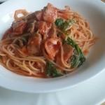 30585697 - ベーコンとワサビ菜のトマトソース