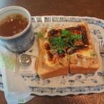 珈琲館 葡露灯 - ツナトーストセットのプレート