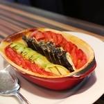 ete - 2014年9月ランチ 付け合わせの焼き野菜はトマト・パプリカ・ジャンボズッキーニと茄子