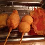 30636698 - 紅しょうが ¥130、うずらの卵 ¥120、ほたて ¥150、レバカツ ¥130