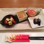 Ichimiichie - 前菜盛り合わせ(なすのカポナータ、フルーツトマトとモッツァレラのサラダ仕立て、冬瓜のマリネ、季節野菜のババロア)