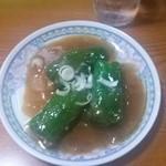 中華料理 上海人家 - ピーマン肉詰め。タレがなんだかわからないけど美味しい。
