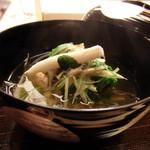 30665462 - 鴨丸沢煮椀、京水菜、牛蒡、九条葱