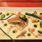 島バル プラビダ - 島産魚のグリルと島産野菜のロースト(魚はフエフキ鯛だったかな)