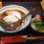 烈志笑魚油 麺香房 三く - お昼の三くセット!!かけラーメン+ネギトロごはん(880円)