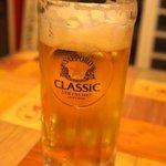 士別バーベキュー - 生ビール・・・あらら・・・