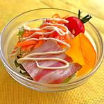30676159 - 季節のプレート(1,620円:税込)の大沼野菜のサラダ。意外に普通やなーと思ったらビネガー強めでした。でも混じりっけなしだったのは◎。野菜のフレッシュさはさすが。