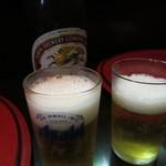 だるま屋 - 瓶ビール550円で乾杯です!